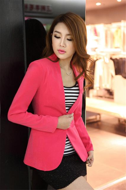 Women Light Weight Blazer In Candy Colors-rose red-S-JadeMoghul Inc.
