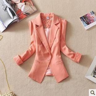 Women Light weight Candy color Blazer jacket With Lace Detailing-Pink-S-JadeMoghul Inc.