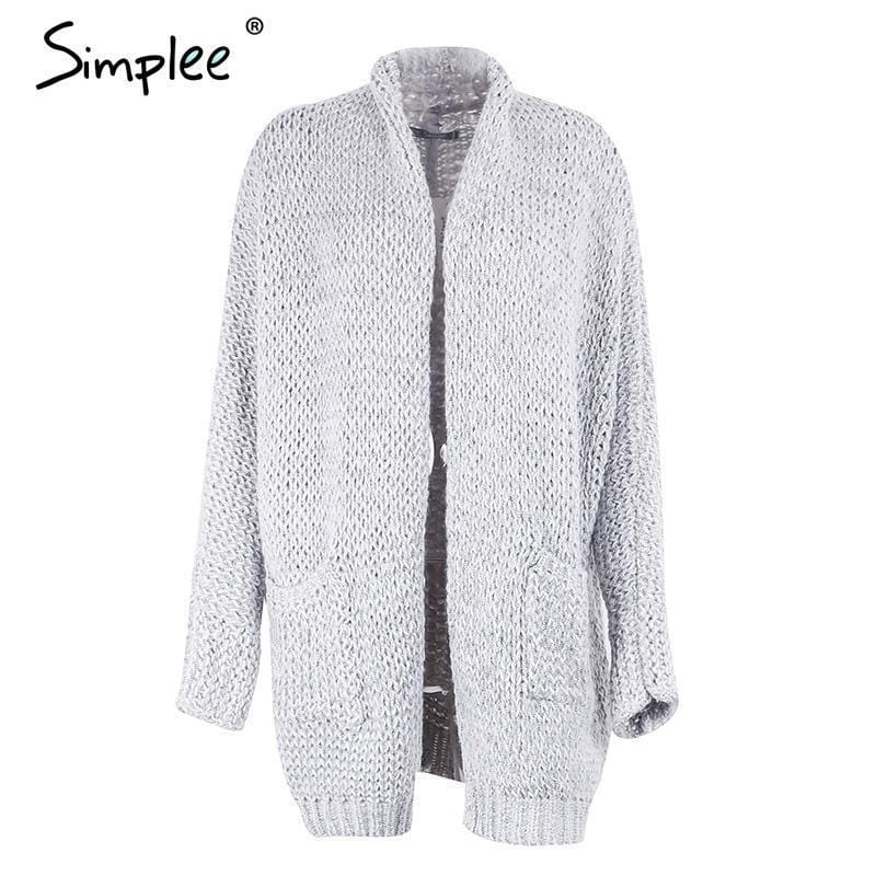Women Light weight Machine Knitted Cardigan Style Sweater-Gray-One Size-JadeMoghul Inc.