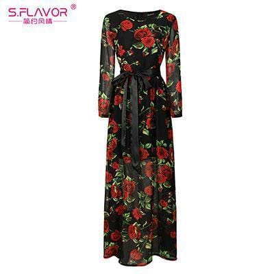 Women Long Dress - Print Dresses Long Floor-as picture_30-S_30-China_30-JadeMoghul Inc.