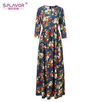 Women Long Dress - Print Dresses Long Floor-as picture_40-S_40-China_40-JadeMoghul Inc.