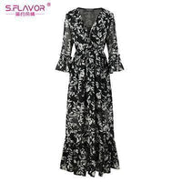 Women Long Dress - Print Dresses Long Floor-as picture_70-S_70-China_70-JadeMoghul Inc.