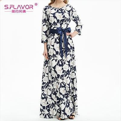 Women Long Dress - Print Dresses Long Floor-as picture_80-S_80-China_80-JadeMoghul Inc.