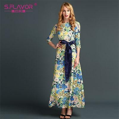 Women Long Dress - Print Dresses Long Floor-as picture_90-S_90-China_90-JadeMoghul Inc.
