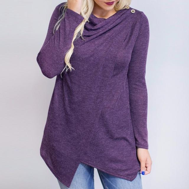 Women Long Sleeved Asymmetrical Warm Top-JadeMoghul Inc.