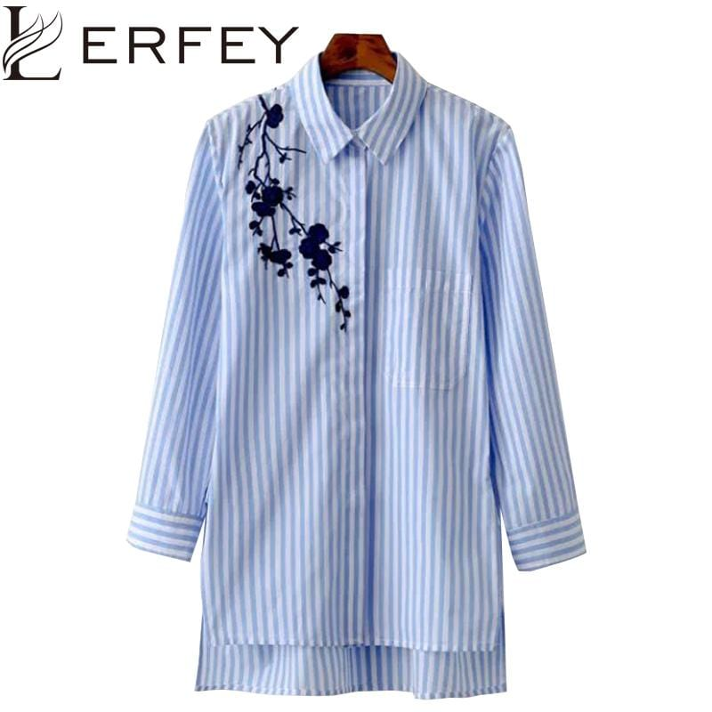 Women Long Sleeved Embroidered Shirt Tunic-S-JadeMoghul Inc.