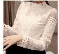 Women Long Sleeved Lace Cut Shirt Top-White-S-United States-JadeMoghul Inc.