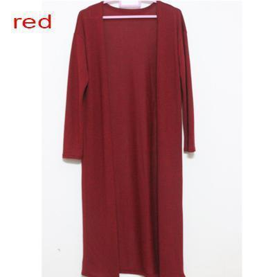 Women Long Slit side Cardigan Sweater-red-One Size-JadeMoghul Inc.