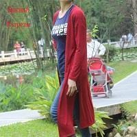 Women Long Slit side Cardigan Sweater-slit red-One Size-JadeMoghul Inc.