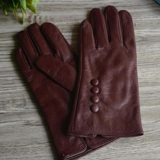 Women Long Wrist Genuine Leather Gloves With Button Detailing-Four buttons black-M-JadeMoghul Inc.