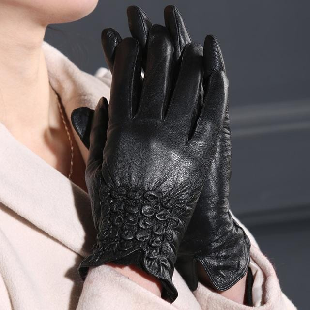 Women Long Wrist Genuine Leather Gloves With Button Detailing-Imitation flower-M-JadeMoghul Inc.