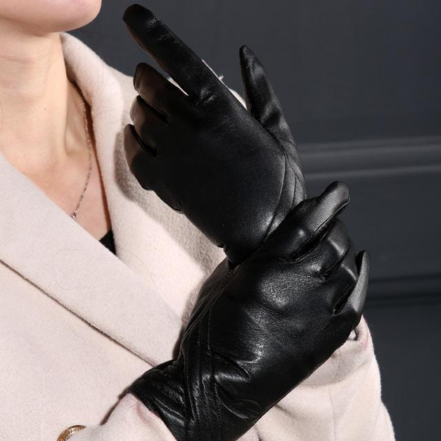 Women Long Wrist Genuine Leather Gloves With Button Detailing-Oblique fringe-M-JadeMoghul Inc.