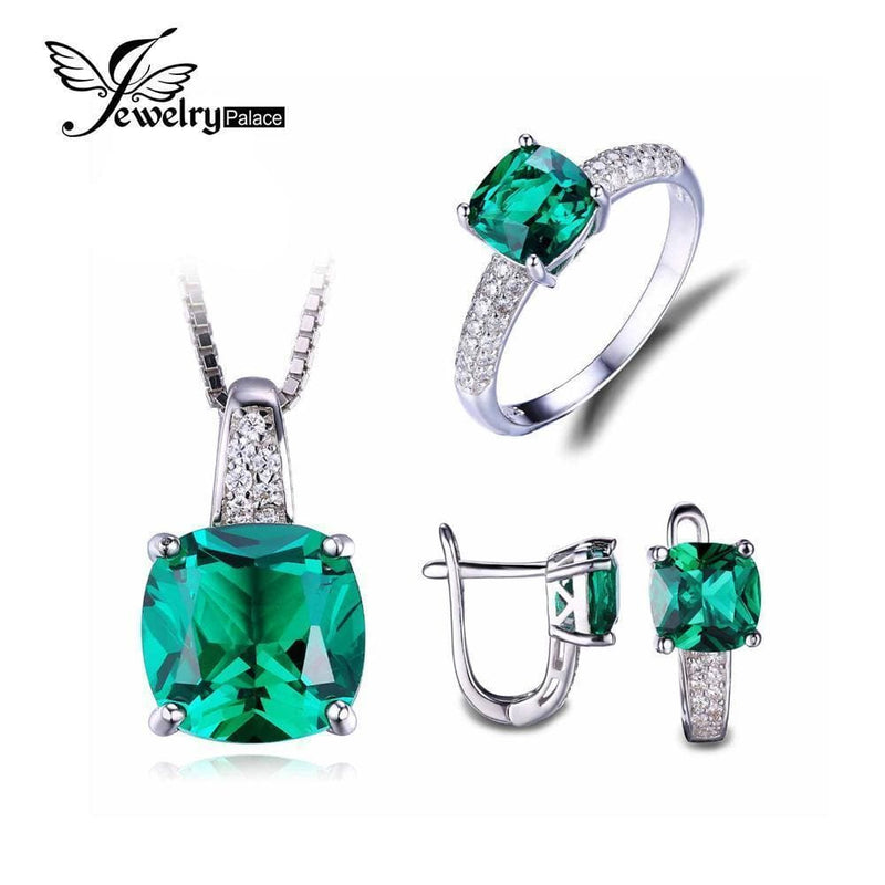 Women Luxury 925 Sterling Silver 4 Piece Emerald Pendant , Earrings And Ring Set-Size 6-JadeMoghul Inc.