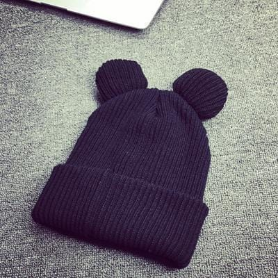 Women Machine Knit Fold Over Hat/Beanie With Cute Bear Ears-Black-JadeMoghul Inc.
