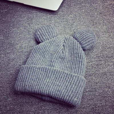 Women Machine Knit Fold Over Hat/Beanie With Cute Bear Ears-Gray-JadeMoghul Inc.