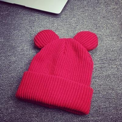Women Machine Knit Fold Over Hat/Beanie With Cute Bear Ears-Red-JadeMoghul Inc.