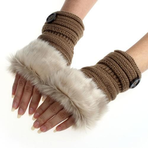 Women Machine Knit Warm Winter Finger Less Gloves With Faux Fur Detailing-A-JadeMoghul Inc.