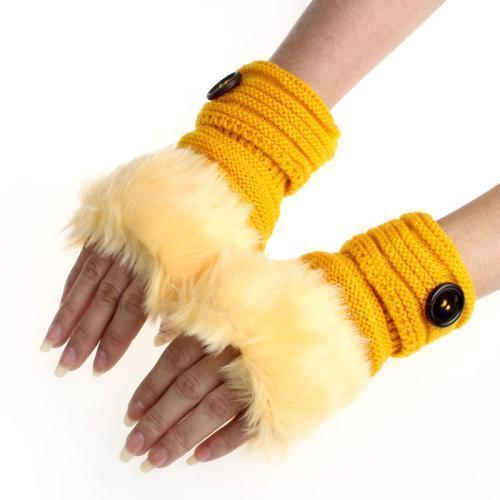 Women Machine Knit Warm Winter Finger Less Gloves With Faux Fur Detailing-B-JadeMoghul Inc.