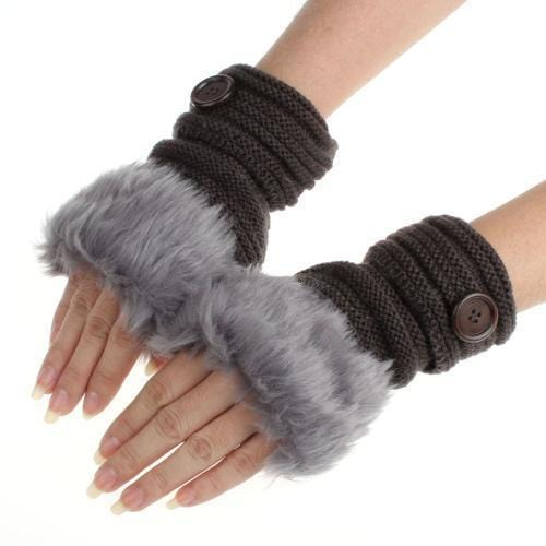 Women Machine Knit Warm Winter Finger Less Gloves With Faux Fur Detailing-C-JadeMoghul Inc.