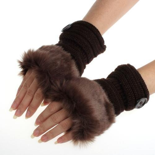Women Machine Knit Warm Winter Finger Less Gloves With Faux Fur Detailing-D-JadeMoghul Inc.