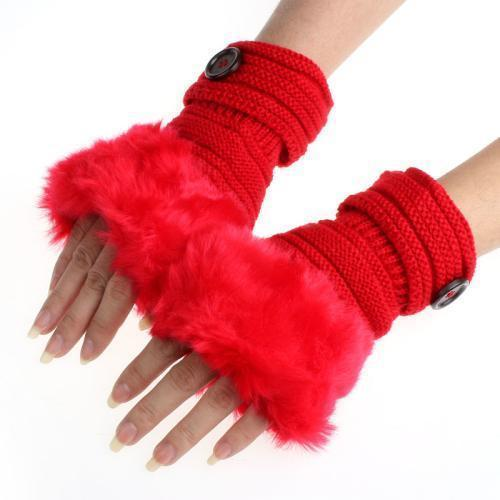 Women Machine Knit Warm Winter Finger Less Gloves With Faux Fur Detailing-E-JadeMoghul Inc.
