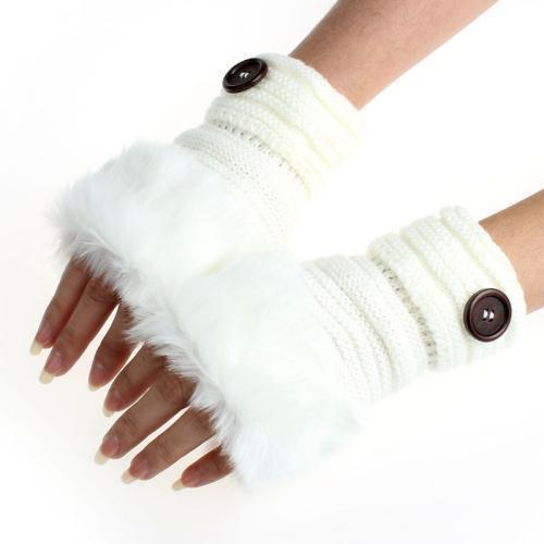 Women Machine Knit Warm Winter Finger Less Gloves With Faux Fur Detailing-F-JadeMoghul Inc.