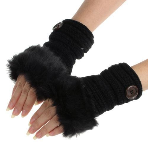 Women Machine Knit Warm Winter Finger Less Gloves With Faux Fur Detailing-G-JadeMoghul Inc.