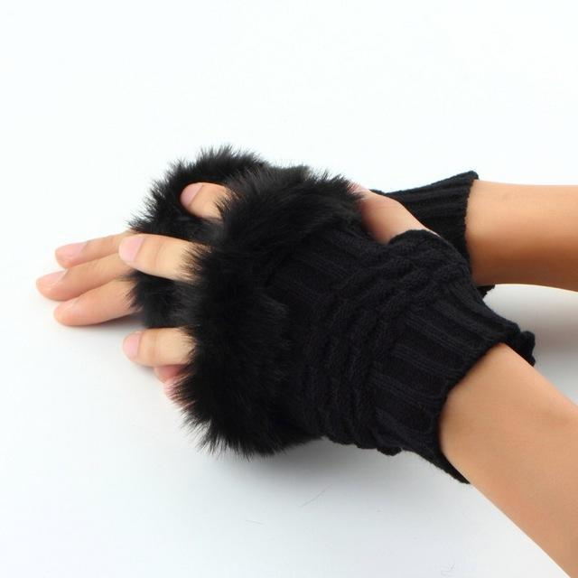 Women Machine Knit Warm Winter Finger Less Gloves With Fur Detailing-Black-JadeMoghul Inc.