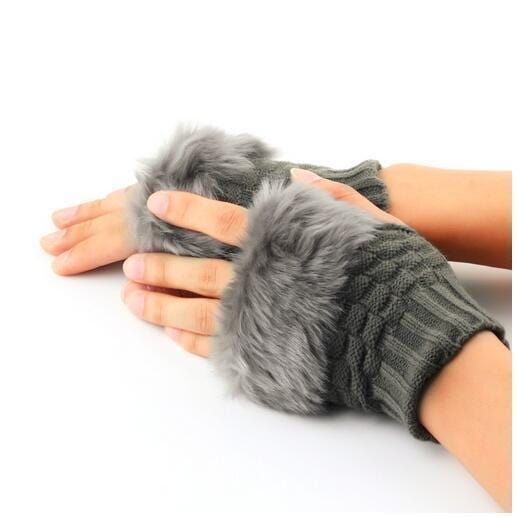 Women Machine Knit Warm Winter Finger Less Gloves With Fur Detailing-Light grey-JadeMoghul Inc.