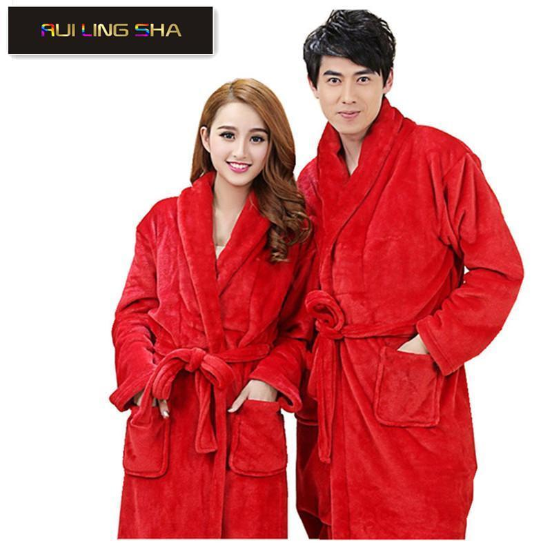 Women / Men Thick Soft Coral Fleece Robe In Solid Colors-Navy Blue-S-JadeMoghul Inc.