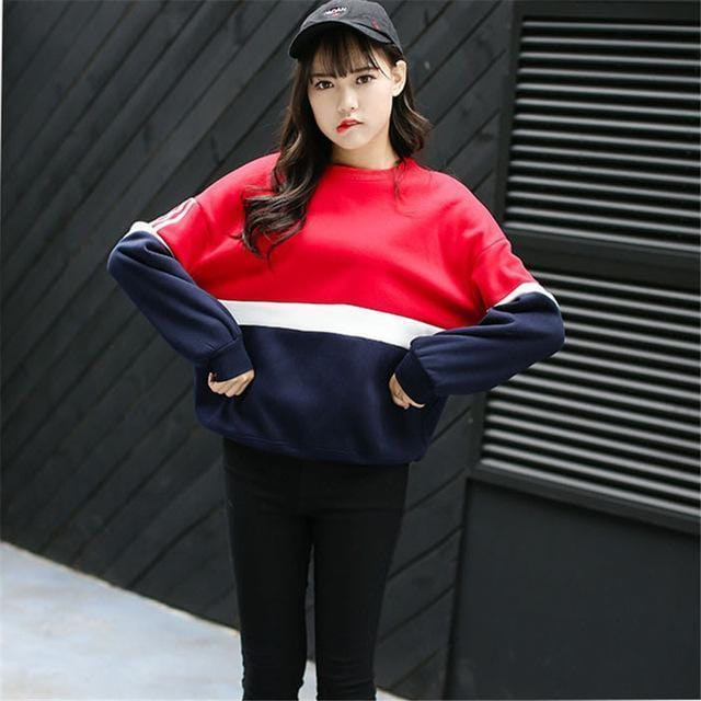Women Multi color Bold stripes Fleece Sweatshirt-Red and navy-L-JadeMoghul Inc.
