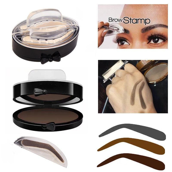 Women Natural Arched Eyebrow Stamp And Powder Palette Set-01 Grey Bridge shape-JadeMoghul Inc.