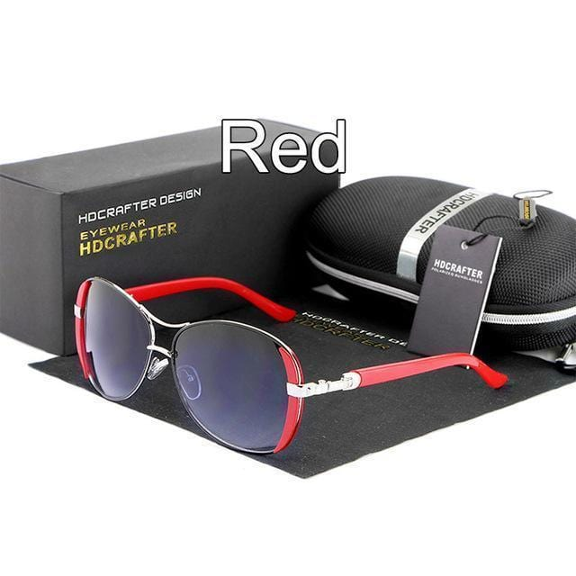 Women Oval Shaped Colored Metal frame Sunglasses With 100% UV 400 Protection-Red-China-JadeMoghul Inc.