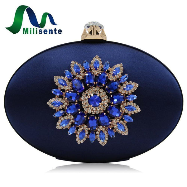 Women Oval Shaped Metal Evening Clutch With Statement Rhinestone Brooch Detailing-Royal Blue-JadeMoghul Inc.