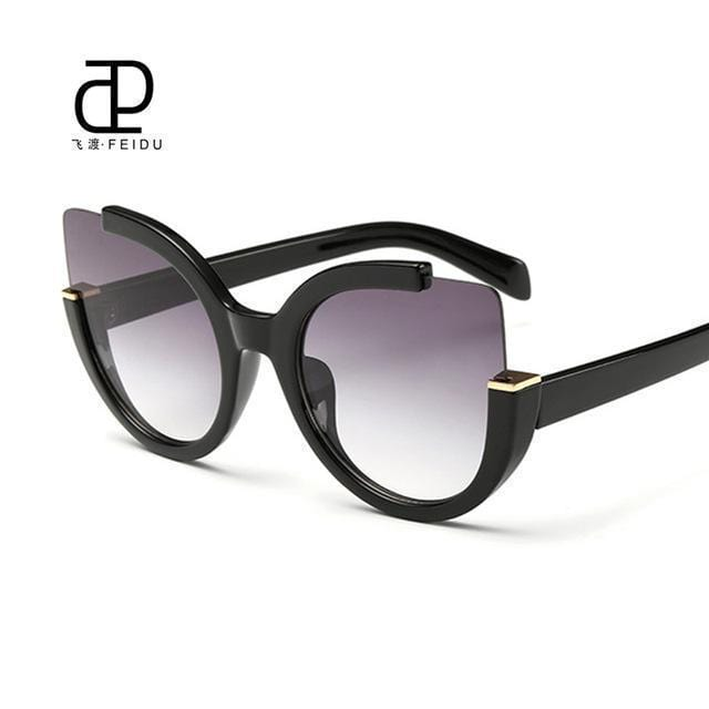 Women Oversized Cat Eye Sunglasses With Open Frame And 100$ UV 400 Protection-Black-JadeMoghul Inc.