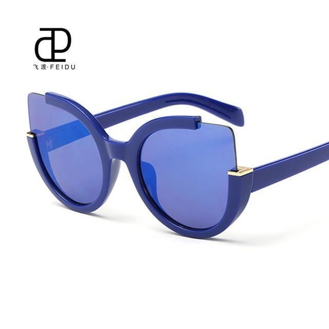 Women Oversized Cat Eye Sunglasses With Open Frame And 100$ UV 400 Protection-Blue-JadeMoghul Inc.