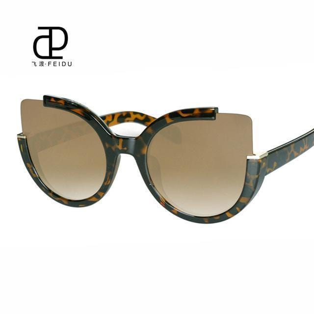 Women Oversized Cat Eye Sunglasses With Open Frame And 100$ UV 400 Protection-Leopard-JadeMoghul Inc.