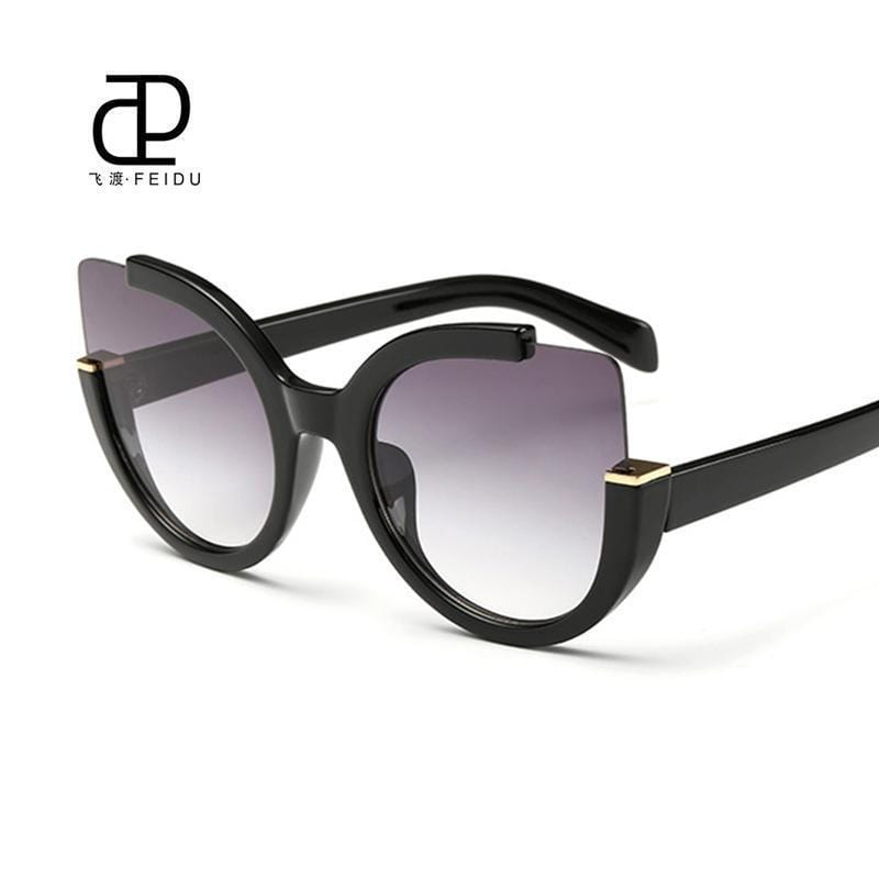 Women Oversized Cat Eye Sunglasses With Open Frame And 100$ UV 400 Protection-Maroon-JadeMoghul Inc.
