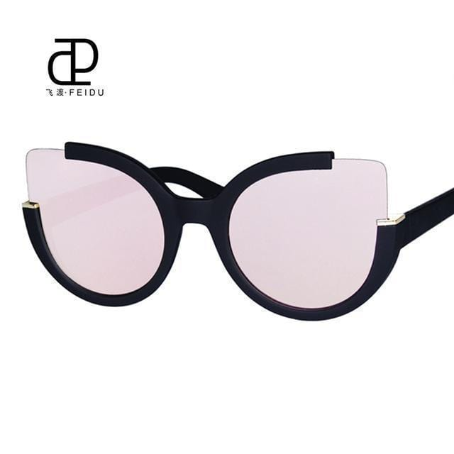 Women Oversized Cat Eye Sunglasses With Open Frame And 100$ UV 400 Protection-Pink-JadeMoghul Inc.