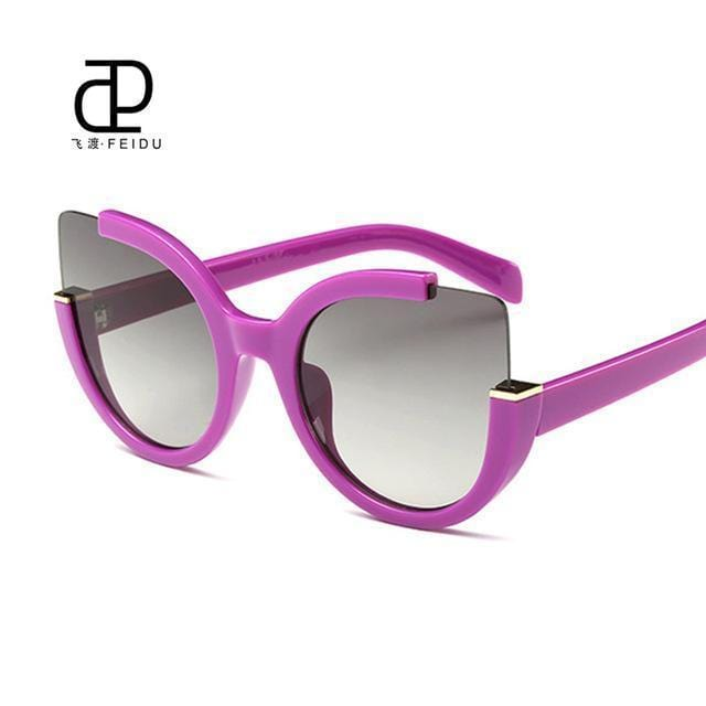 Women Oversized Cat Eye Sunglasses With Open Frame And 100$ UV 400 Protection-Purple-JadeMoghul Inc.