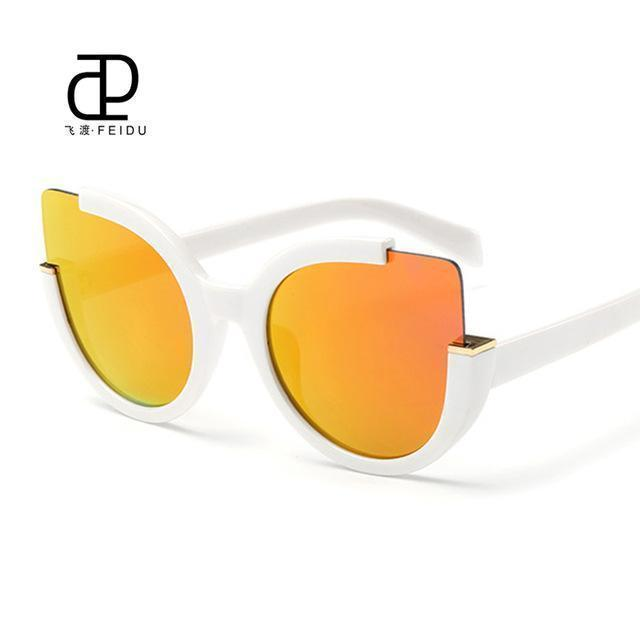 Women Oversized Cat Eye Sunglasses With Open Frame And 100$ UV 400 Protection-White-JadeMoghul Inc.