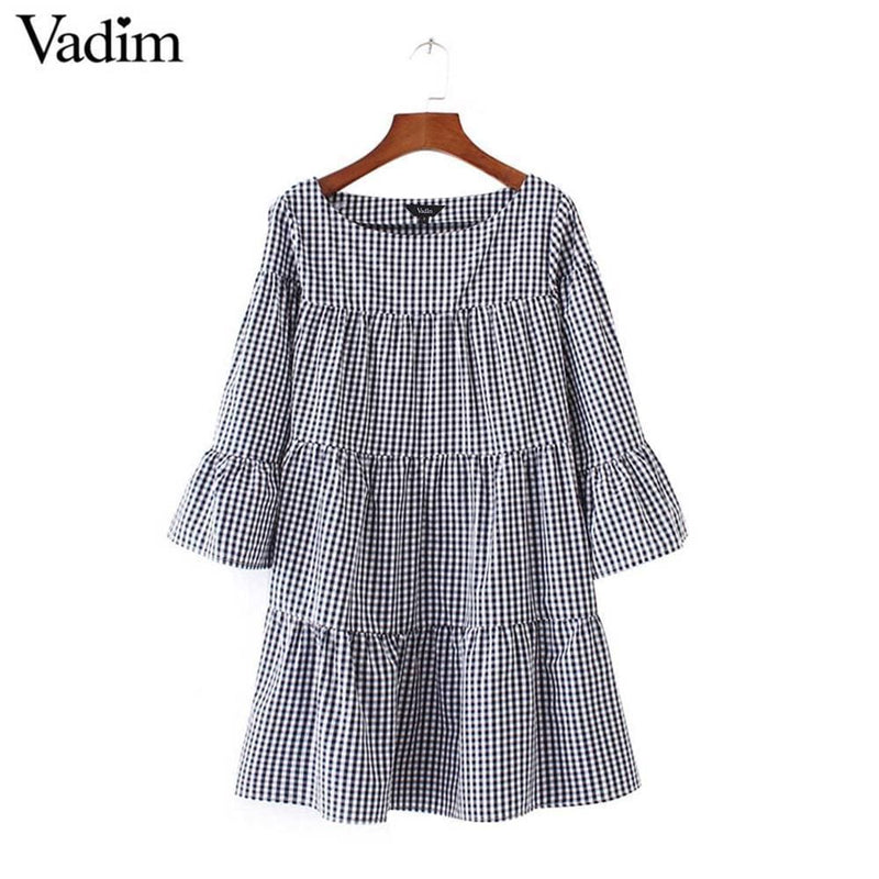 Women oversized pleated plaid dress summer elegant checkered flare sleeve loose casual sweet dresses vestidos QZ2821-as picture_4-L_4-China_4-JadeMoghul Inc.