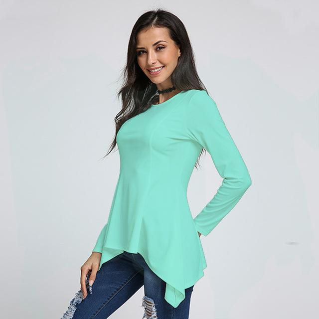 Women Peplum Waist Solid color Assymmetrical Shirt Top-JadeMoghul Inc.