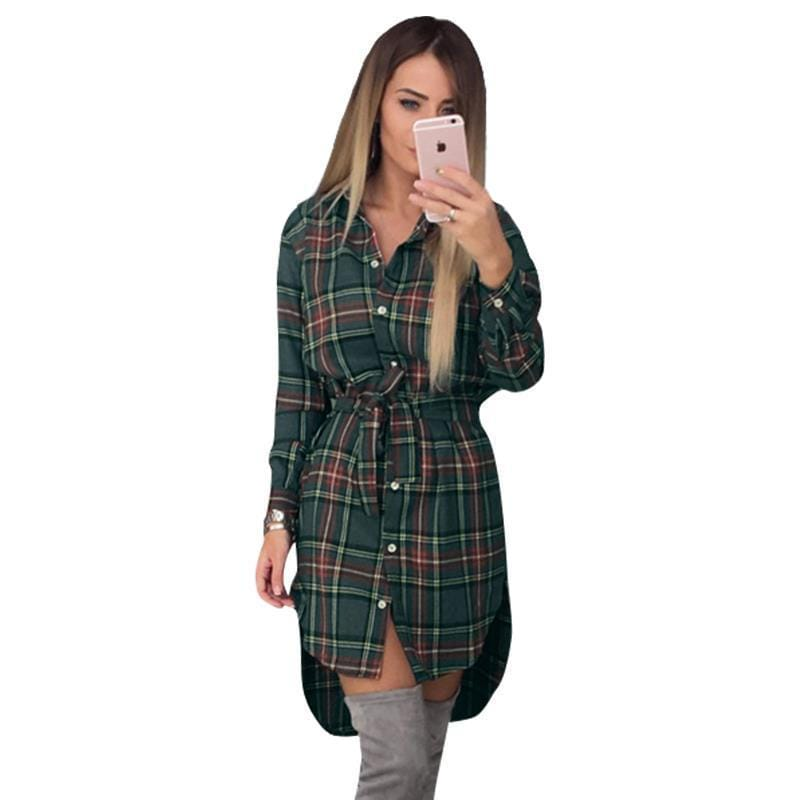 Women Plaid Full Sleeved Button Down Long Tunic top-navy blue-M-JadeMoghul Inc.