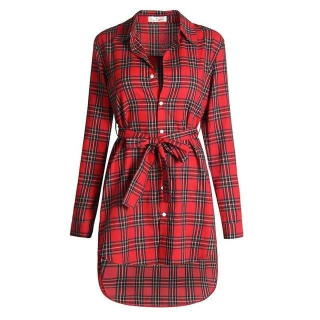 Women Plaid Full Sleeved Button Down Long Tunic top-Red-L-JadeMoghul Inc.