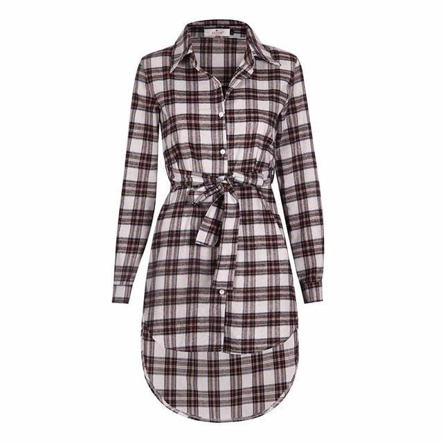 Women Plaid Full Sleeved Button Down Long Tunic top-JadeMoghul Inc.
