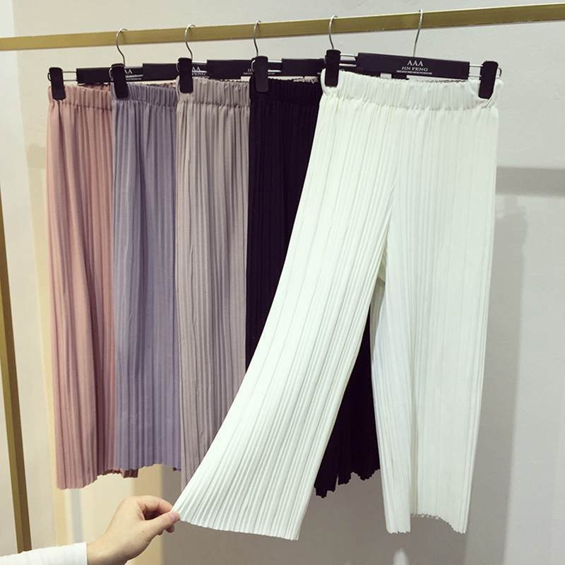 Women Pleated Culotte Pants In Pastel colors-white-One Size-JadeMoghul Inc.