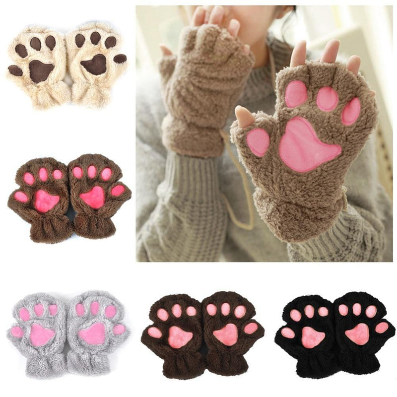 Women Plush Animal Paw Design Finger Less Gloves-Beige-JadeMoghul Inc.