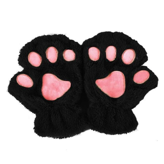 Women Plush Animal Paw Design Finger Less Gloves-Black-JadeMoghul Inc.