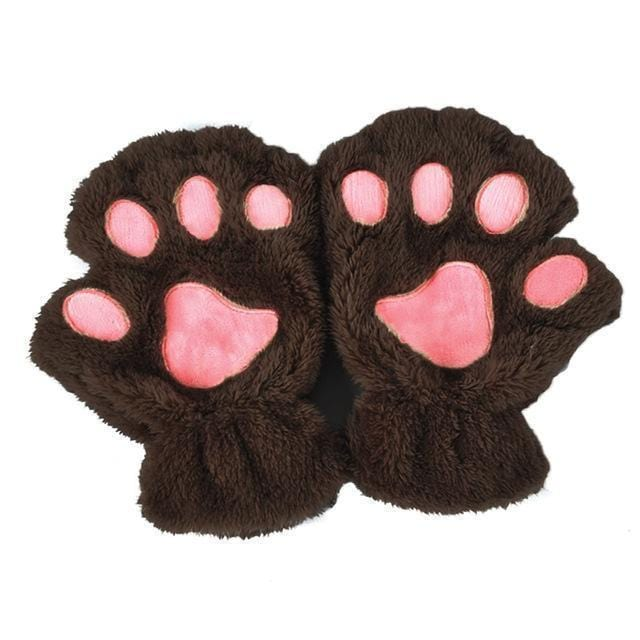 Women Plush Animal Paw Design Finger Less Gloves-Dark Coffee-JadeMoghul Inc.